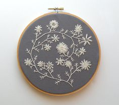 "Ecru embroidered flowers - 6"" embroidery hoop $37.00"