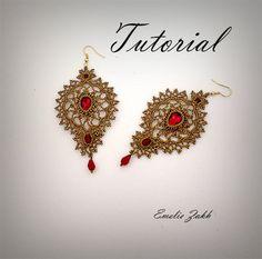 Check out Earrings crochet tutorial( scheme  + video).Earrings crochet lace.Chandelier earrings pattern.Wedding earrings bronze thread.Earrings long. on emeliebeads