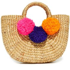 JADEtribe Basket Mini Pom Bag ($115) ❤ liked on Polyvore featuring bags, handbags, multi colored handbags, multi color purse, colorful purses, woven purses and straw handbags