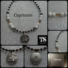 Be #ambitious, be #Capricorn smile emoticon   I have created this bracelet with #exquisite little #garnet (#birthstone) gemstone beads and silver plated Hematite tubes. The centre piece has a Capricorn charm with the word 'ambitious' engraved on reverse side. The centre is surrounded by white quartz and gorgeous gold Swarovski element crystals