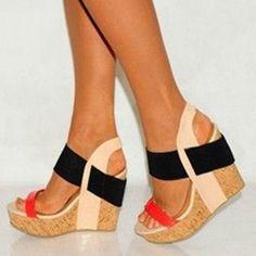 5fa2c88adf798 nice Shoespie Color Block Wooden Heel Wedge Sandals Cheap Wedge Sandals