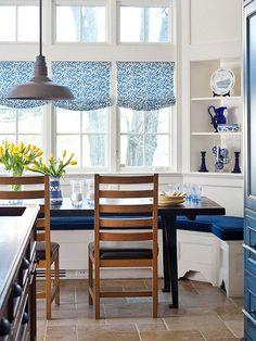 blue + white banquette