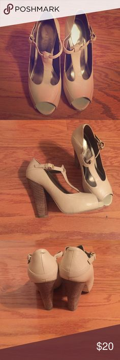 BCBGirls Heeled Sandals Great work heel! Very comfortable. Size 7. Slight wear on the toe. Looks great with dress slacks and a crisp button down! Retro Mary Jane feel! BCBGirls Shoes Heels