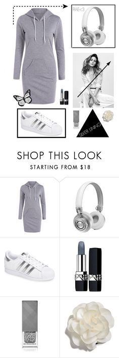 """""""Silver Lining #sneaker #music #fashionable #swag"""" by rae-love-fashion-design ❤ liked on Polyvore featuring Master & Dynamic, adidas, Christian Dior, Burberry and Cara"""