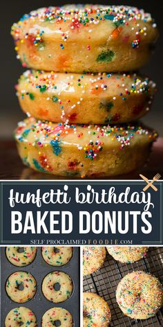 Birthday Cake Baked Donuts are a colorful treat for any occasion. This easy to make recipe will put a smile on anyone's face! Light and fluffy buttermilk donuts are filled with sprinkles. The baked donuts are then dipped in a warm glaze and topped with more sprinkles! Make them for breakfast or dessert! #donuts #baked #bakeddonuts #sprinkles #birthday #glazed #recipe #easy Best Dessert Recipes, Fun Desserts, Delicious Desserts, Snack Recipes, Baked Donut Recipes, Baked Donuts, Baking Recipes, Doughnuts, Cobbler