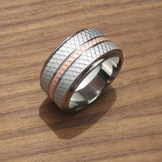 Titanium & Copper Knurled Wedding Band