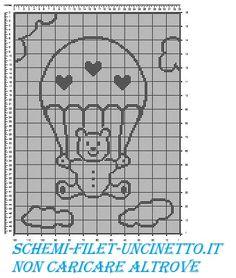 copertina orsetto con paracadute schema filet gratis