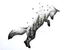 Jumping fox tattoo, maybe a wolf instead. Trendy Tattoos, Cute Tattoos, Beautiful Tattoos, Body Art Tattoos, Hand Tattoos, Sleeve Tattoos, Wolf Tattoos, Animal Tattoos, Tatoos