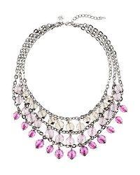 Purple Triple Row Beaded Short Necklace WhiteHouseBlackMarket