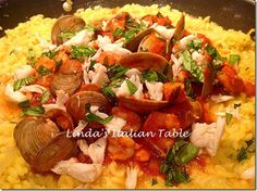 Recipe of the Month October: Risotto With Seafood Sauce  http://www.lindasitaliantable.com/recipe-of-the-month-october-risotto-with-seafood-sauce/