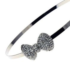 Clear Crystal Bow On Silvertoned Hairband $14.99