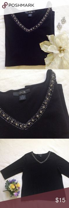 *Plus*Style&Co. Woman black 3/4 beaded neck top Style&Co Woman (Macy's) black 3/4 sleeve shirt with beautiful rhinestone and beading along the v-front neckline. In new condition. No fading. Soft cotton offers some stretch. 100%cotton. Size 2X. Style & Co Tops Tees - Long Sleeve