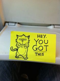 Hilarious Motivational Cat Post-It Notes Found on a Train - BlazePress