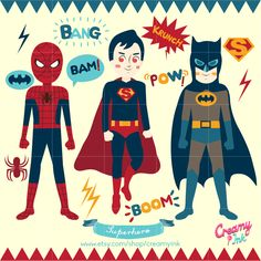 Superhero clip art featuring spiderman, superman, batman and sound effect bubbles which are perfect for kids party. #clipart #vector #design See more at CreamyInk.etsy.com