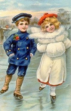 Cute Children, Sailor Boy and Girl Ice Skating Vintage Postcard Happy Merry Christmas, Old Christmas, Old Fashioned Christmas, Victorian Christmas, Christmas Greetings, Christmas 2019, Christmas Postcards, Vintage Christmas Images, Vintage Holiday