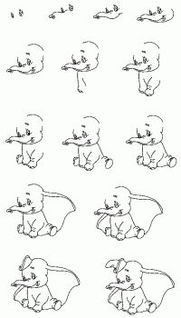 Easy Drawings Step By Step   Draw Dumbo how-to draw lesson(cute)