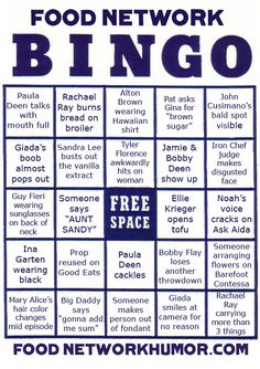 food-network-bingo- playing this right now!!!!! going for black out