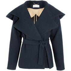 Chloé Hooded brushed-wool coat ($870) ❤ liked on Polyvore featuring outerwear, coats, jackets, coats & jackets, chloé, hooded wool coat, double breasted woolen coat, double breasted wool coat, blue coat and chloe coat