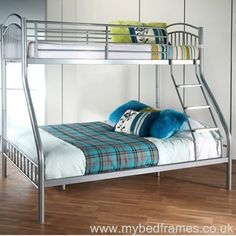 The Tripoli bunk bed is an ideal solution when space is tight. The bottom bed is a standard double x and will sleep two adults comfortably. Top top bed is a standard single x Leather Bed Frame, Bed Sores, Metal Bunk Beds, Triple Bunk, Types Of Beds, Bed Mattress, Floor Space, Dorm Room, Bedroom Furniture