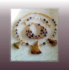 Picasso Jasper Necklace 3-Strand Bracelet & Earring by Eagle414