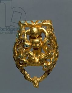 Gold sword belt buckle depicting griffins, man and panther, from Vinnica Region, Ukraine, Jewelry, Sarmatic Civilization, 4th- 2nd Century BC