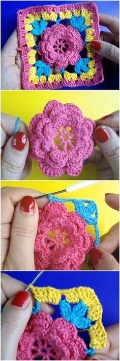 Crochet Square Flower Motif Step By Step