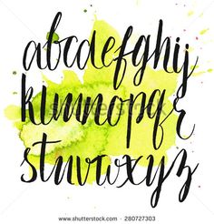 Vector brush alphabet at green watercolor splash. Artistic hand drawn letters. Modern #calligraphy #script