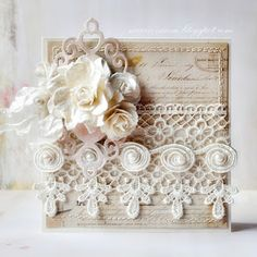 39 Ideas wedding card hand made cardmaking shabby chic Wedding Cards Handmade, Beautiful Handmade Cards, Pretty Cards, Cute Cards, Mixed Media Cards, Shabby Chic Cards, Home And Deco, Paper Cards, Flower Cards
