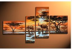 hand painted  wall art Grassland elephants Decoration Modern Abstract landscape Oil Painting on canvas 4pcs/set wood Framed-in Painting  Calligraphy from Home  Garden on Aliexpress.com $33.31