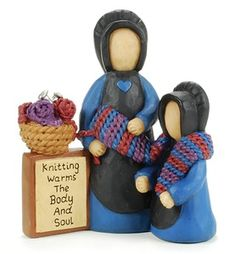 Amish Knitting Mother - Collectible Figurines by Blossom Bucket