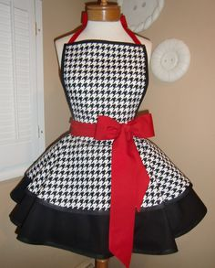 Houndstooth Print Accented With Red Womans Retro Apron With Tiered Skirt And Bib. 45.00, via Etsy.