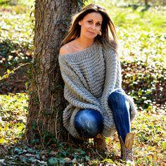 Light Gray Hand Knitted Wool non Mohair Sweater Summer Boatneck by EXTRAVAGANTZA #EXTRAVAGANTZA #BoatNeck