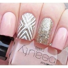 Pink and silver glitter nail design