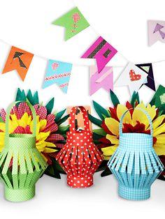 Caixoletas Blog: D.I.Y. Lanternas de papel Baby Crafts, Diy And Crafts, Arts And Crafts, Paper Plate Crafts For Kids, Paper Crafts, Origami Lantern, Ramadan Crafts, Creative Class, Happy Party