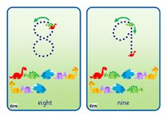 Additional, simple flash cards that can be laminated and used with a dry wipe marker. Numbers from 0-10 are in Sassoon dotted font. A green item shows the starting point, a red item the finishing point. Also includes direction arrows and additional items to add a counting element. Themes covered are dinosaurs and apples - more coming soon