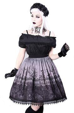 CEMETERY GRAY gothic lolita skirt, graveyard, guipure Goth, Vintage, Strampunk (Medium)