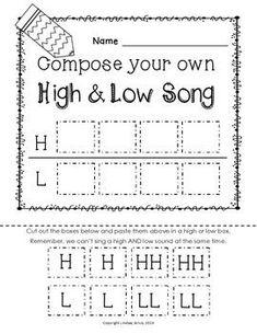 HIGH AND LOW {READY SET PRINT!} - TeachersPayTeachers.com Music Lesson Plans, Music Lessons, Music Education Lessons, Music Classroom, Music Teachers, Kindergarten Music, Elementary Music, Elementary Schools, Music Worksheets