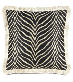 Nairobi MIdnight Throw pillow with brush fringe. Scalamandre by Eastern Accents