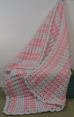 Crochet Baby Afghan Blanket Pink and White by 13thStreetEmporium, $20.00