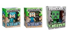 "Amazon.com: Mojang Minecraft 6"" Vinyl Toy Set of 3 - Steve!, Diamond Steve! and Creeper: Toys & Games"