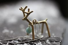 Gilded Reindeer Charm Necklace  A Florida Christmas by NighBluey, $30.00