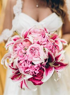 pink lily bouquet   Crystal Stokes #wedding