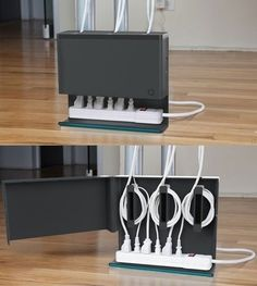 54 home-organization-space-saving-organizing-ideas. like this cable organizer, yarn storage and makeup stored in a hanging jewelry organizer. Organisation Hacks, Cord Organization, Bathroom Organization, Bathroom Storage, Small Bathroom, Ideas Para Organizar, Diy Home, Home Decor, Ideias Diy