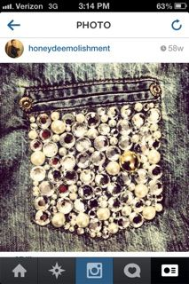 Honey Clusters! Denim embezzled with #rhinestones #buttons #sequins #pearls