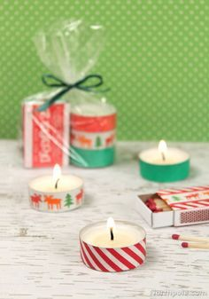 Washi Tape Tealights & Matchboxes