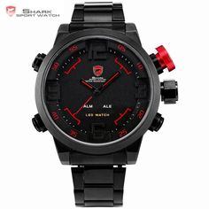 OFF   Shark Sport Watch Brand Digital Dual Time Day Led Black Red Men  Wristwatches Full Steel Strap Tag Relogio Military Clock   21eedd607bb