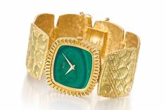 Rare Piaget watch, 1971.  18k gold with jade dial. (=)