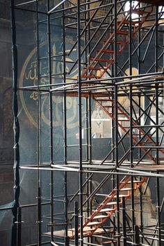 Scaffolding in Hagia Sophia Urban Architecture, Space Architecture, Scaffolding Pipe, Repetition Art, Building Stairs, Hagia Sophia, Stairway To Heaven, Amazing Spaces, Map Design
