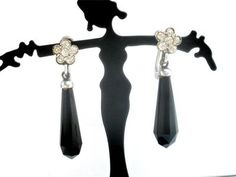 Art Deco Sterling Silver Black Onyx Dangle Screwback Estate Earrings Antique | eBay