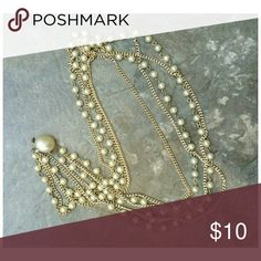 "Vintage Style Necklace Pearls and gold toned chain. Large pearl clasp. Hangs 14"" when on VINTAGE Jewelry Necklaces"